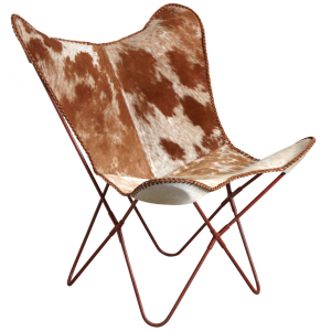 Photo MFA2940C : Fauteuil butterfly en peau de vache marron
