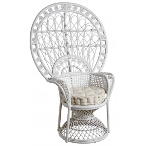 Photo MFA2960C : White rattan peacock chair