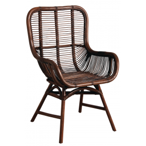 Photo MFA2970 : Fauteuil en rotin teinté marron