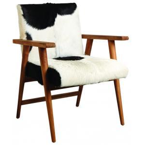 Photo MFA3120C : Fauteuil en teck et peau de chèvre noire