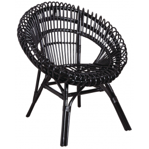 Photo MFA3230 : Black lacquered rattan armchairs