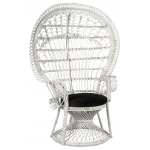 Photo MFA3350C : White rattan peacock chair