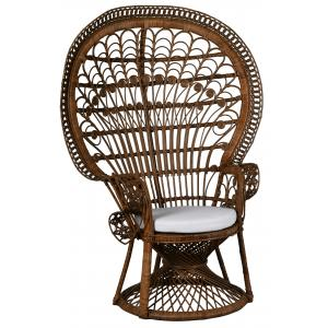 Photo MFA3360C : Brown rattan peacock chair