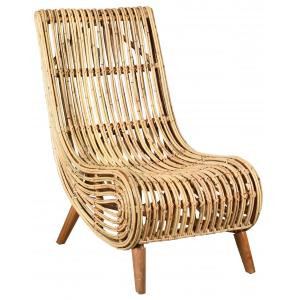 Photo MFA3390 : Natural rattan and wood armchair