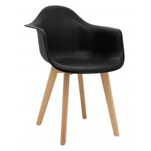 Photo MFA3402 : Black polypro and beechwood armchair