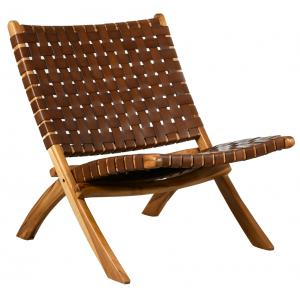 Photo MFA3450 : Teak and leather folding armchair