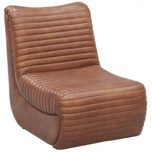 Photo MFA3620 : Fauteuil bas en cuir marron