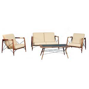 Photo MSA154SC : Salon ALICE en bois de suar et métal