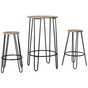 Photo MST140S : Ensemble table haute et tabourets en métal et bois d'orme huilé