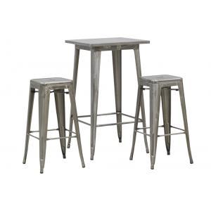 Photo MST148S : Ensemble table haute et tabourets en acier brossé