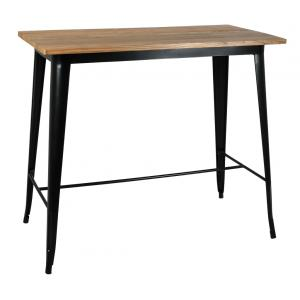 Photo MTA1690 : Black metal and oiled elm wood high table