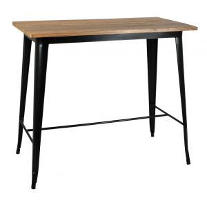 Photo MTA1690 : Table haute en métal noir et bois d'orme huilé