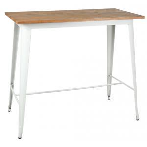 Photo MTA1700 : Table haute industrielle en métal blanc et bois d'orme huilé