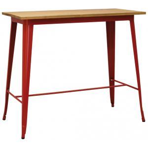 Photo MTA1730 : Table haute en métal rouge et bois d'orme huilé