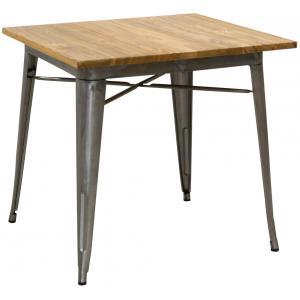 Photo MTA1740 : Table industrielle en acier brossé et bois d'orme huilé
