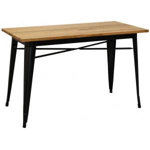 Photo MTA1750 : Table industrielle en métal noir et bois d'orme huilé