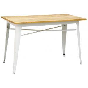 Photo MTA1760 : Table industrielle en métal et bois d'orme huilé
