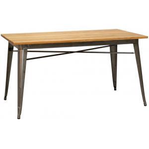Photo MTA1770 : Table industrielle en métal et bois d'orme huilé