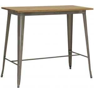 Photo MTA1790 : Table haute en acier brossé et bois d'orme huilé