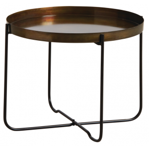 Photo MTB1480 : Folding antique gold metal coffee table