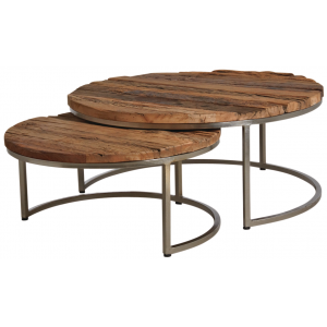 Photo MTB149S : Solid wood and steel coffee tables