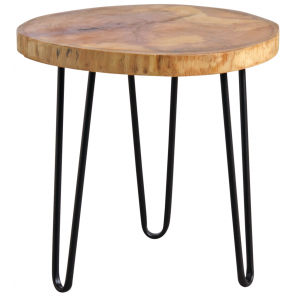 Photo MTB1570 : Round metal and wooden coffee table