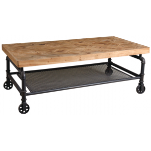 Photo MTB1590 : Metal and wooden coffee table with 4 wheels