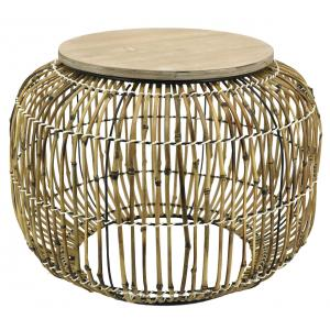 Photo MTB1670 : Rattan and metal coffee table