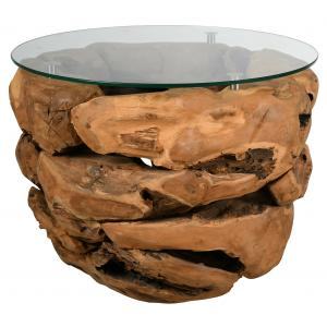 Photo MTB1740V : Natural teak and glass round bowl coffee table