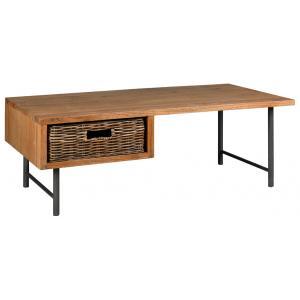 Photo MTB1850 : Table basse en bois mindi, métal et rotin