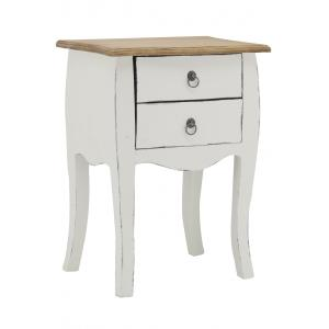 Photo MTN1160 : Antique white wood nightstand
