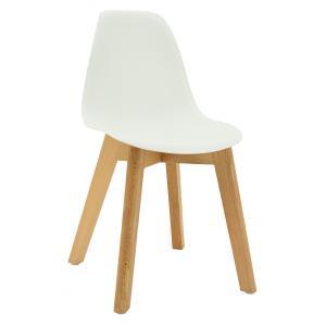 Photo NCE1301 : Chaise enfant en polypro blanc et hêtre