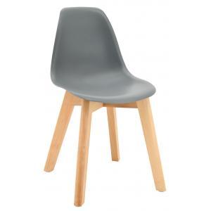 Photo NCE1303 : Chaise enfant en polypro gris et hêtre