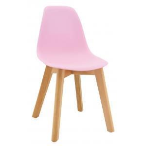Photo NCE1304 : Chaise enfant en polypro rose et hêtre