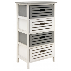 Photo NCM3330 : Wooden grey and antic white chests of 4 drawers