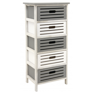 Photo NCM3340 : Wooden grey and antic white chests of 5 drawers