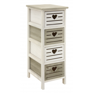 Photo NCM3350 : Wooden dark green and antic white chests of 4 drawers Heart