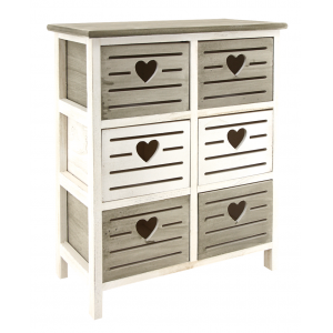 Photo NCM3360 : Wooden dark green and antic white chests of 6 drawers Heart