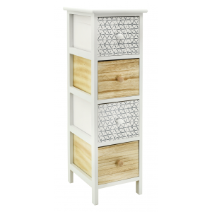 Photo NCM3370 : White and natural paulownia cabinet