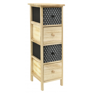 Photo NCM3380 : Black and natural paulownia cabinet