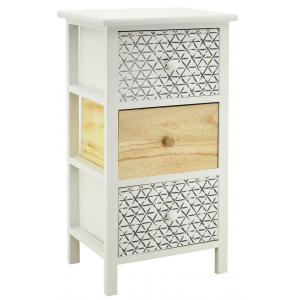 Photo NCM3390 : White natural paulownia cabinet