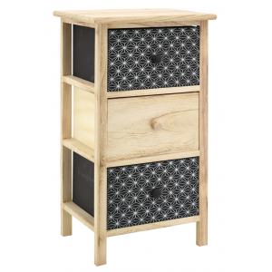 Photo NCM3400 : Black and natural paulownia cabinet