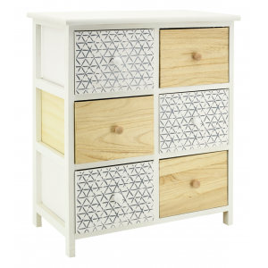 Photo NCM3410 : White and natural paulownia cabinet