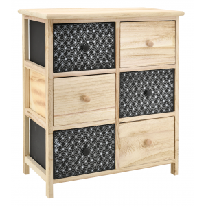 Photo NCM3420 : Black and natural paulownia cabinet