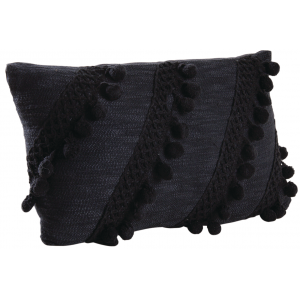 Photo NCO2440 : Cotton cushion with black pompoms