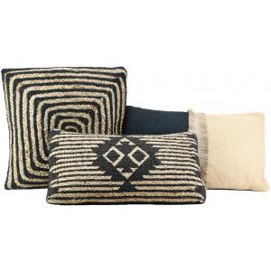 Photo NCO261S : Jute and black cotton cushions