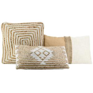 Photo NCO262S : Jute and white cotton cushions