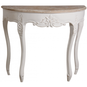 Photo NCS1410 : Console demi-lune en manguier blanc