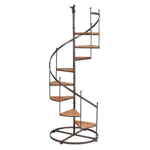 Photo NET2510 : Étagère escalier en métal et bois, 8 niveaux