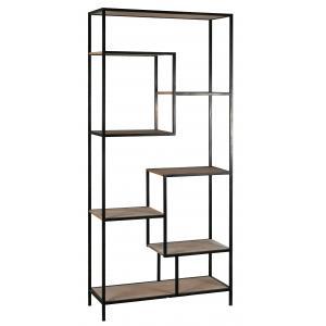 Photo NET2580 : Mdf fir wood vener and metal shelf, 8 shelves
